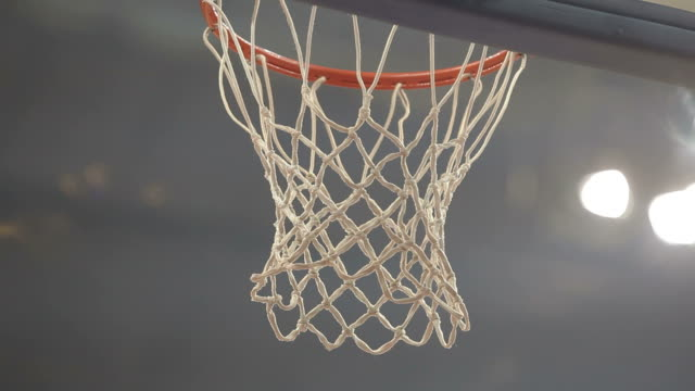 Basketball net score close up