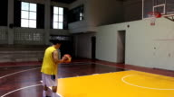 Basketball player shooting for his score