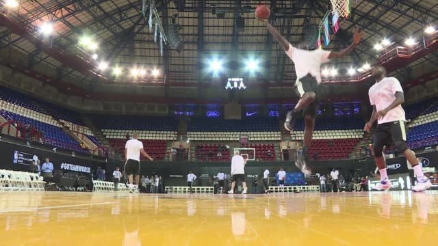 Basketball stars including Chris Paul of the Los Angeles Clippers and Boris Diaw of the San Antonio Spurs warmed up Friday for the NBAs first ever...