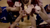 Basketball team huddle