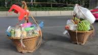 Baskets of food.