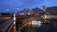 WS Bateau Mouche on Seine river at dusk / Paris, France