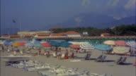 WS PAN Bathing beach at viareggio shoreline, Tuscany, Italy.