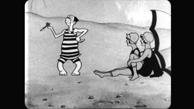 Bathing Suit Beauties are captivated by a smoking man