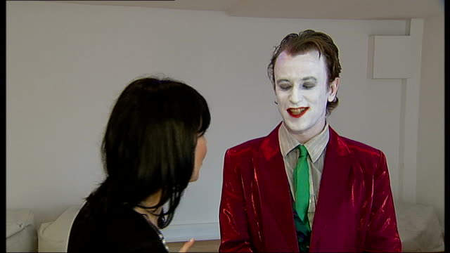 Batman fans audition for new show Auditions finishing Man dressed as Joker interviewed about making it through to the next round SOT Successful...