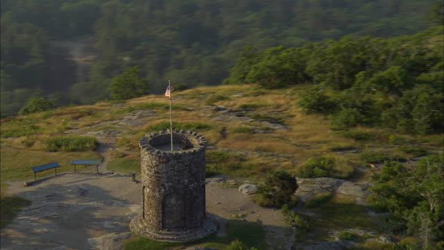 AERIAL, WS, Battie Tower at top of Mt. Battie, Camden, Maine, USA
