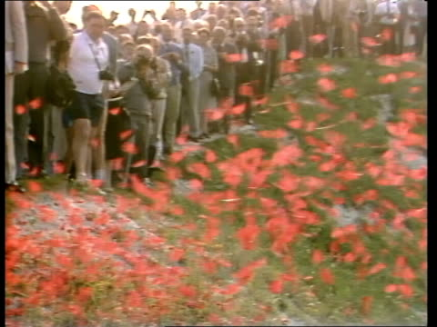 Story 5 ITN FRANCE Somme Cross Mist Pipes played as piper walking along Huge crater People gathered for memorial Last Post played Showers of poppies...