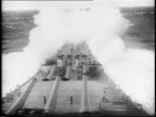 Battleships fire at Japanese islands / boats carry troops of Task Force 8 to Okinawa / Allied fighter planes attack Japanese ships / map of Japan /...
