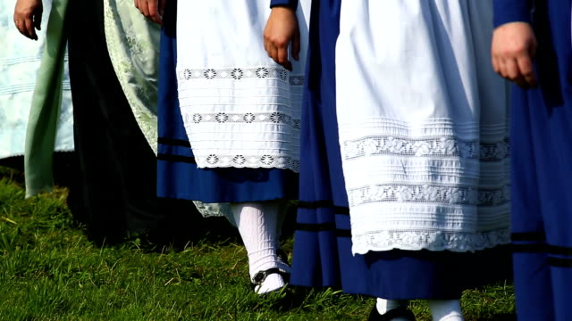 CU Bavarian Women and Boys Walking to Open Air Event