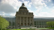 Bayerische Staatskanzlei, architecture, Hofgarten, trees, people, park,  blue sky