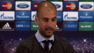 Manchester INT Pep Guardiola along to take seat at press conference and press conference SOT they are one of the most important clubs in the world /...