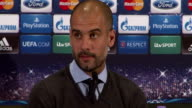 Bayern Munich press conference Pep Guardiola press conference SOT Until now just 2 times won this title / As a coach it's important to keep the level...