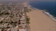 AERIAL beach and buildings, Santa Monica, California, USA