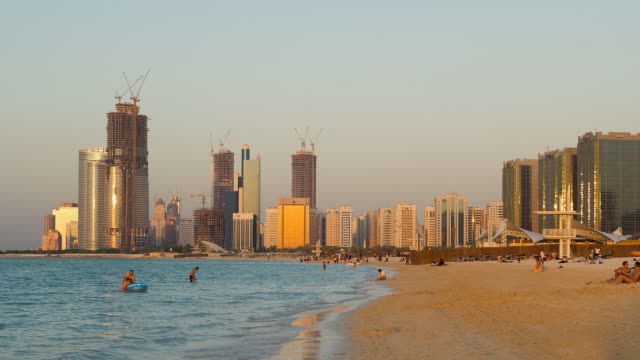 T/L of beach and seafront buildings in Abu Dhabi, United Arab Emirates, November 2009