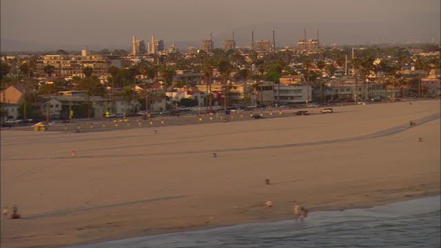 AERIAL Beach and waterfront houses, Long Beach, California, USA