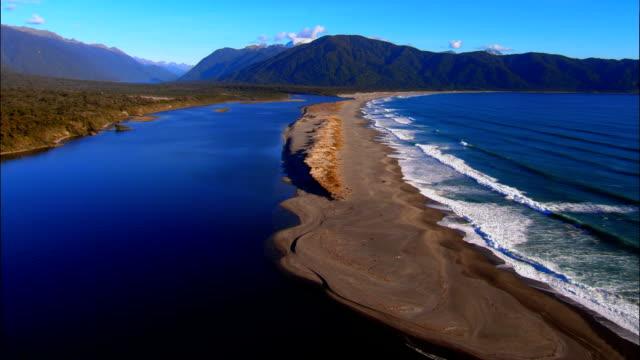 LOW AERIAL, Beach at Martins Bay, Fiordland National Park, New Zealand
