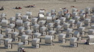 Beach chairs at seaside in Sellin