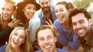 Rallentatore-spiaggia gruppo di amici Selfie