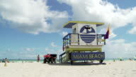 Beach lifeguard stand w/ 'Miami Beach' sign amp yellow amp purple flags unidentifiable people standing amp sitting under umbrellas white clouds in...