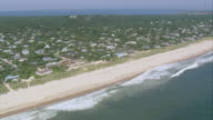 AERIAL Beach properties along the Atlantic coastline / New York, United States