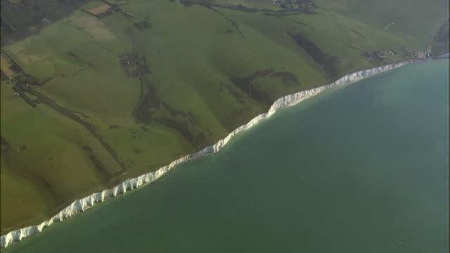 AERIAL Beachy Head cliffs / Eastbourne, East Sussex, United Kingdom