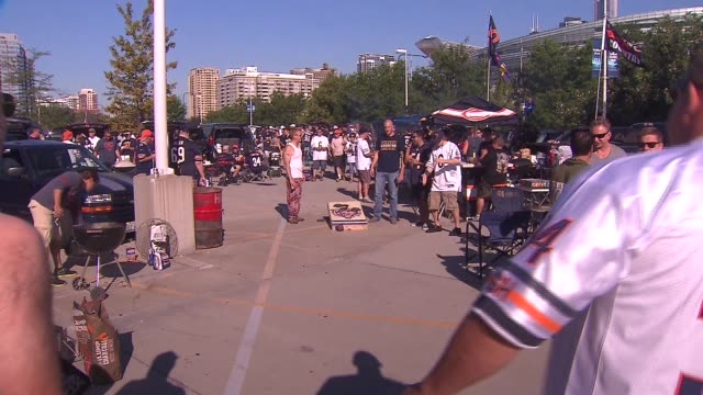WGN Bean bag toss game at Chicago Bears tailgate party at Soldier Field on Sept 7 2014 in Chicago