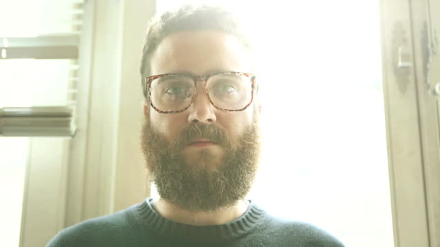 Bearded man portait: hipster