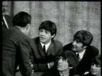 Beatles walk into press conference and talk about their reaction to America / Ringo Starr talks about the weather / John Lennon asked if he got...