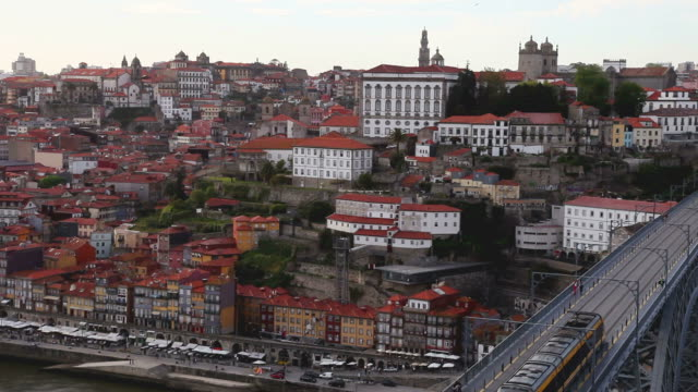 Beautiful aerial view of Oporto and subway train