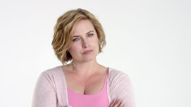beautiful blonde plus size / best age model - facial expressions / questioning look