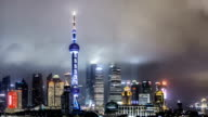 Beautiful cinemagraph effect with animated picture and Downtown Shanghai at Night / Shanghai, China