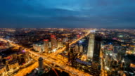 Beautiful cinemagraph effect with animated picture and High Angle View of Beijing Skyline at Dusk