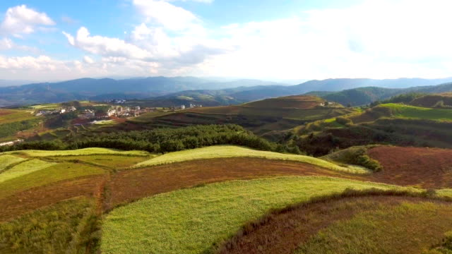 Beautiful Colorful Hill and Mountain Range against Blue Sky, Aerial Video