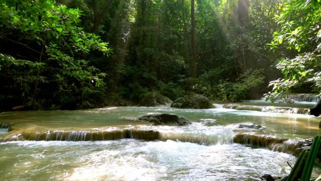 Beautiful Erawan Waterfall at Kanchanaburi in Thailand