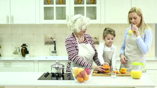 Beautiful family in kitchen