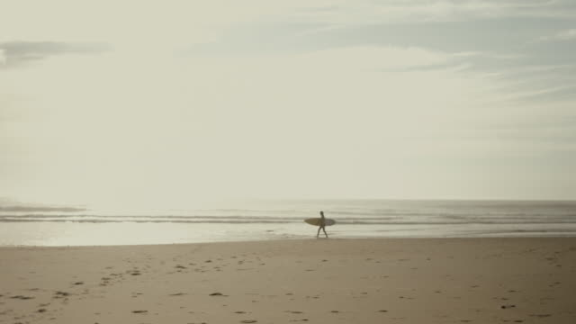 Beautiful female surfer walking alone on deserted beach, carrying surfboard