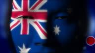 Beautiful girl Australia flag face painted