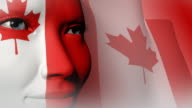 Beautiful girl CANADA flag face painted