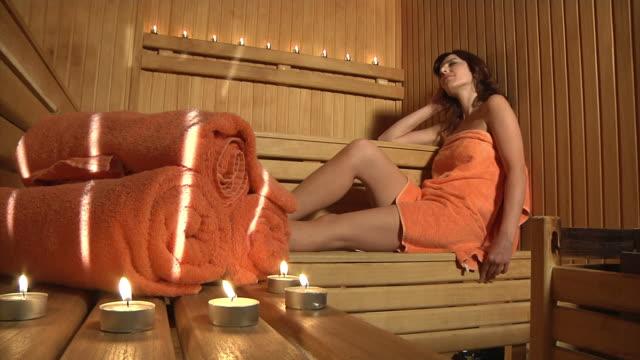 Beautiful Girl in Sauna