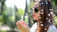 Beautiful Girl Woman Blowing Dandelion