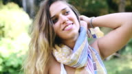 Beautiful hippie girl posing in nature