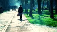 HD: Beautiful Lady Walking Back Home