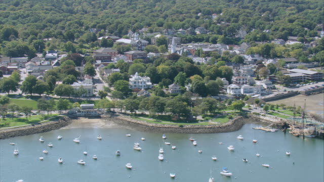 Aerial beautiful landscaping at plymouth rock waterfront for Landscaping rocks new plymouth