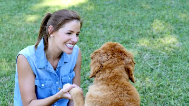 Beautiful mid adult woman plays with her dog in a public park