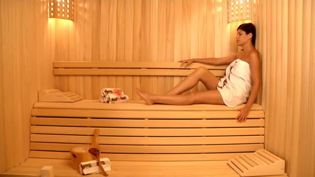 Beautiful Model in Sauna