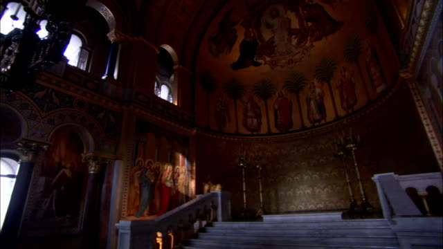 Beautiful murals decorate the impressive throne hall at Neuchswanstein Castle Available in HD.
