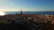 AERIAL Beautiful Notre Dame de la Garde in Marseille
