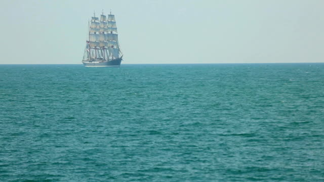 beautiful old ship in full sail