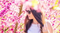 Beautiful russian girl posing between the nice blooming peach trees with pink colors during springtime in a warm day with sunny weather enjoying in the Catalonia countryside. Cinemagraph effect with hair in motion.