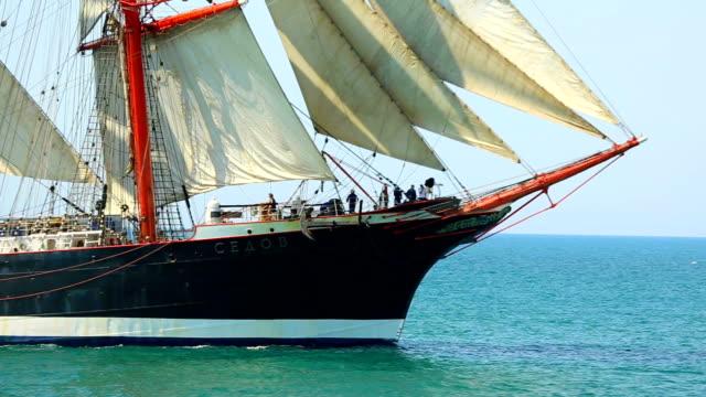 beautiful sailing ship in full sail